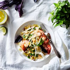 Vietnamese-ish Rice Noodle Salad with Shrimp, Peas, and Corn