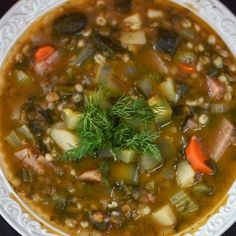Vegan Rassolnik (Lentil and Barley Soup with Pickles)