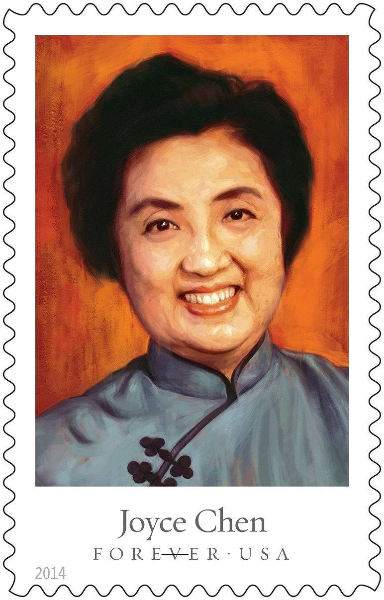 Joyce Chen Forever stamp, issued September 26, 2014 as part of the U.S. Postal Service Celebrity Chefs Forever stamp series.