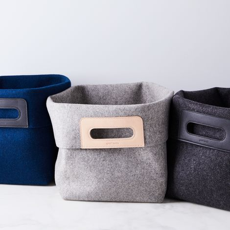 Leather & Felt Storage Bin