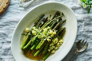 Pan-Roasted Asparagus with Brown Butter, Lemon, and Eggs Mimosa