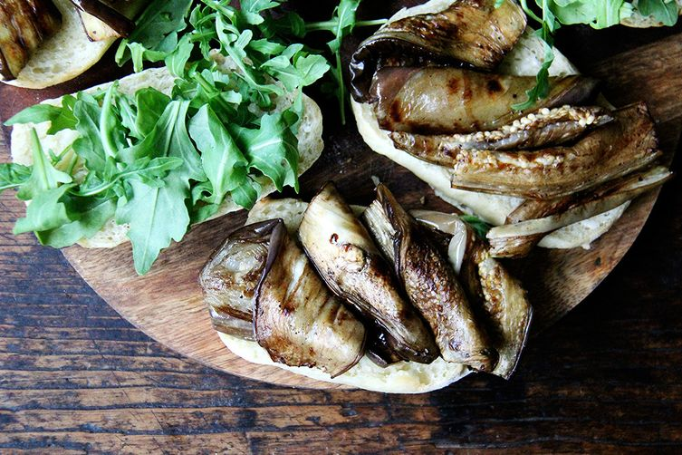 Balsamic-Roasted Eggplant and Arugula Sandwiches