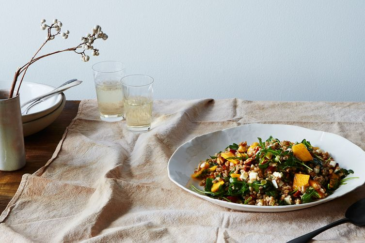 Farro Salad with Onion Confit, Persimmon, and Arugula