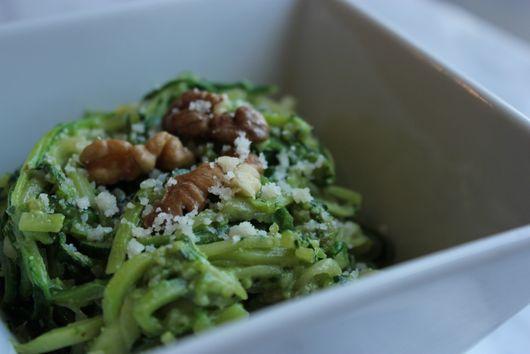 Zucchini Noodles w/Kale-Walnut Pesto