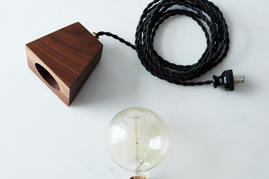 Wood Block & Edison Bulb Lamp