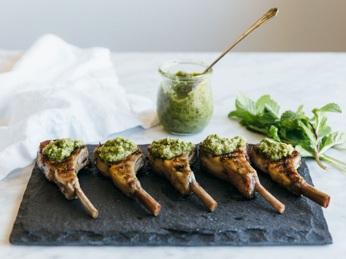 lamb chop recipes mint rosemary Rosemary Grilled Lamb Chops with Mint Apple Sauce