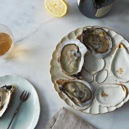 Vintage Oyster Plate, Gold Offset