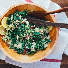 Shaved Brussels Sprout and Kale Salad with Bacon, Meyer Lemon, and Tart Dried Cherries