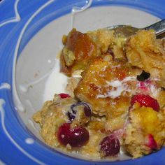 Spiked cranberry nut bread pudding