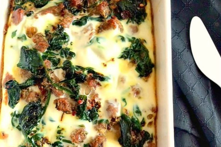 Turkey Spinach Sweet Potato Breakfast Casserole
