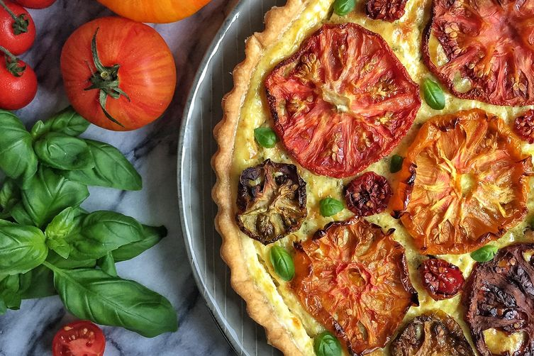 Heirloom Tomato, Goat Cheese & Greek Yogurt Tart with Basil & Almond Pesto