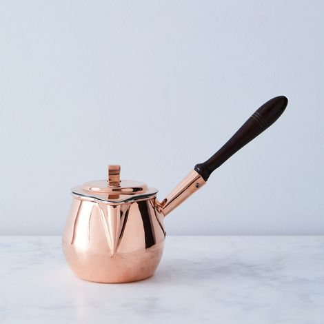Vintage Copper Pot Bellied Chocolate Pan With Spout, Mid 19th Century