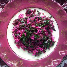 Warm beet and orzo salad