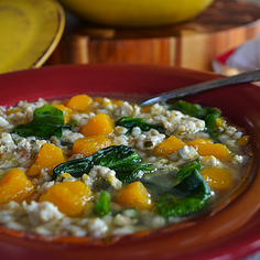 Pearl Barley Soup with Butternut Squash & Sausage