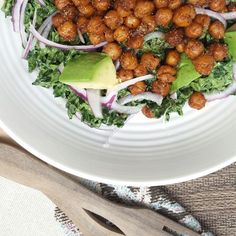 Kale Salad with Spiced Chickpeas & Herbed Yogurt Dressing