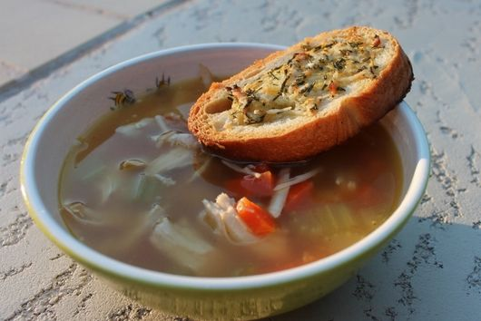 Lemony Roasted Chicken Soup with Rosemary Croutons
