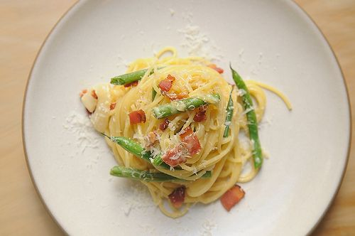 Pasta Carbonara with Fresh Green Beans