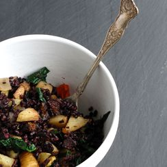 Roasted Roots, Black Rice + Figs