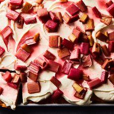 Slab Shortcake with Roasted Rhubarb