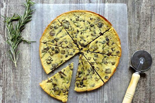 Mushroom Socca (Chickpea Pancake) w/Rosemary and Blistered Tomatoes