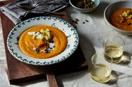 Thai Roasted Butternut Squash and Apple Soup with Coconut-Lime Cream