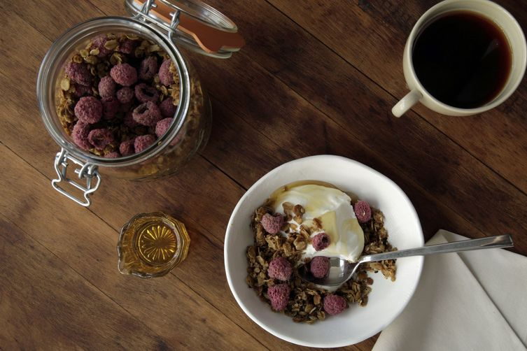 Tahini Cardamom Granola with Raspberries