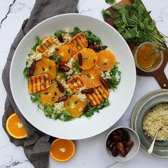 Orange, halloumi, date and bulgur salad