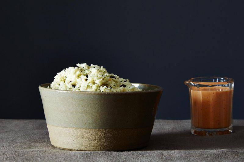 Mediterranean Cauliflower Rice with Smoky Red Pepper Sauce