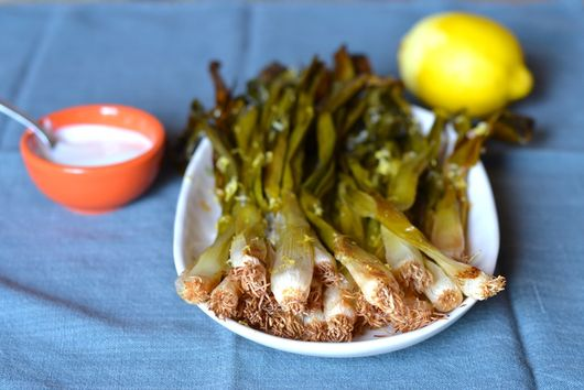 Wilted Scallions with Lemon Mayonnaise