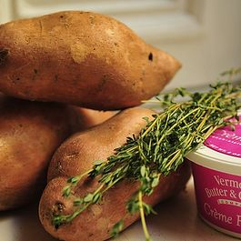 Mashed Sweet Potatoes with Crème Fraîche and Herbs