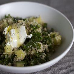 Marinated Kale + Bulgur Salad with Cucumber