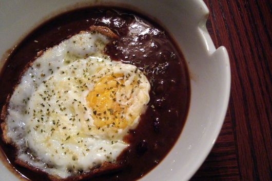 Fried Egg Over Black Bean Soup