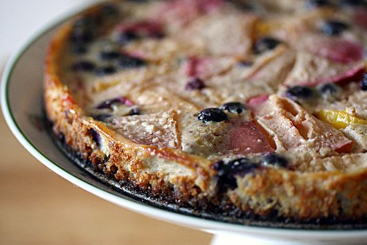 Plum and Blueberry Custard Tart with a Hazelnut Crust