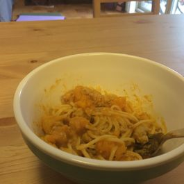 Pasta with roast butternut squash, ground turkey, and pumpkin sauce