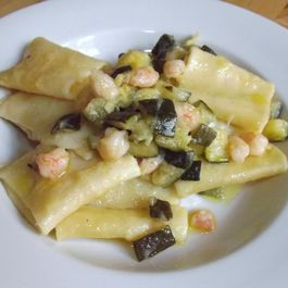 Paccheri ai Gamberetti (Large Tubes with Rock Shrimp and Zucchini)