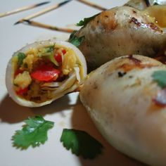 Grilled Calamari with Curried Crab Stuffing