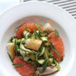 Shaved Asparagus with Smoked Black Cod, Grapefruit & Tarragon