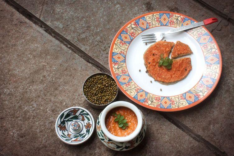 Tomato chutney & Green gram pancakes