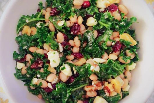 White Bean Feta Kale Salad
