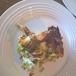 Savory Broccoli and Brussels Sprouts Bread Pudding