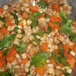 Sweet potato, pozole and chicken salad