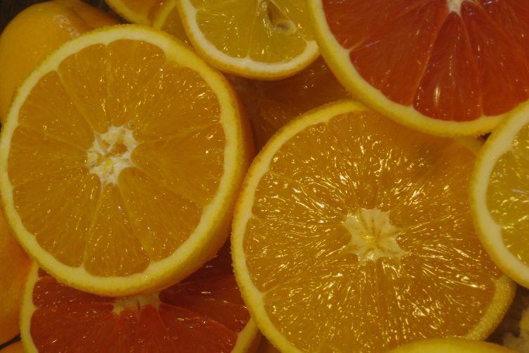 Cardamom vanilla broth with caramelized citrus segments
