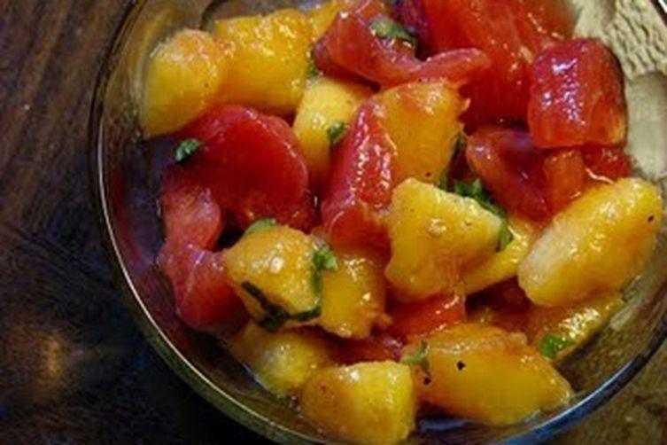 Summer Spectacular Heirloom Tomato and Peach Bruschetta