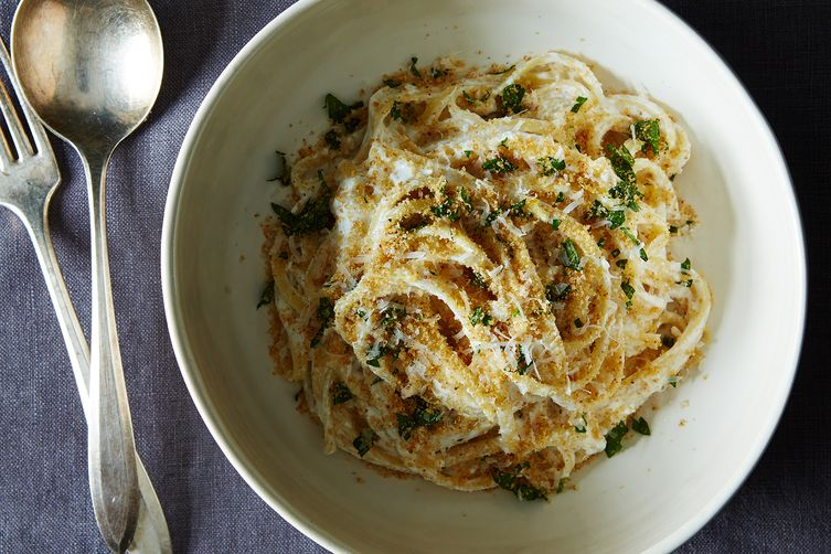 White Pasta with Garlic Parmigiano Breadcrumbs