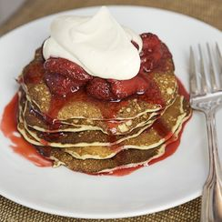 Cottage Cheese Pancakes with Crème Fraîche and Seasonal Fruit