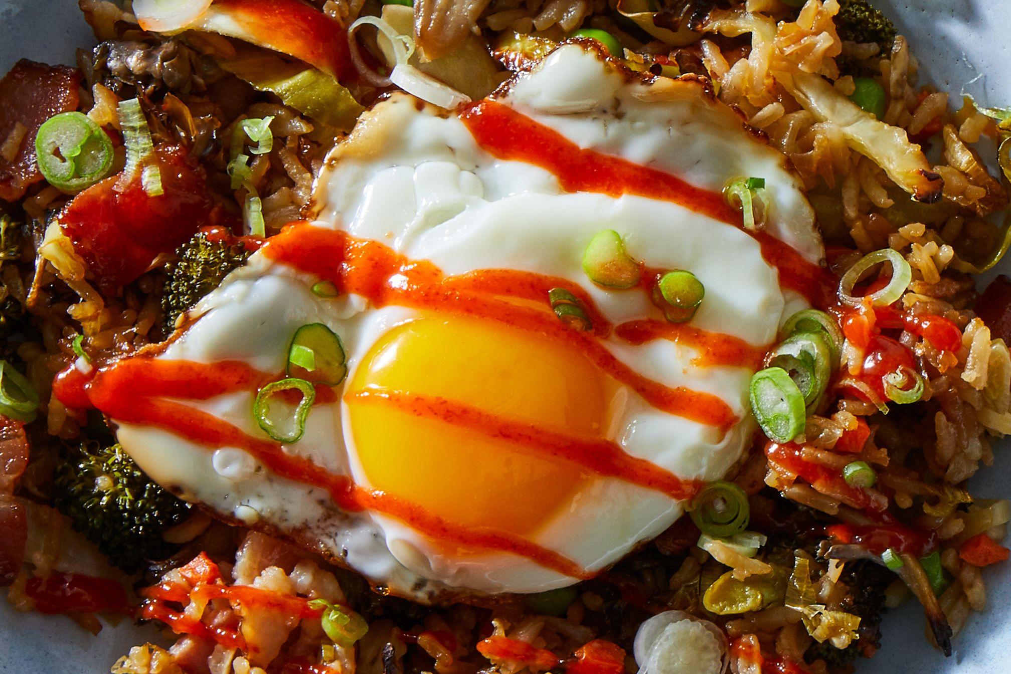 Sheet-Pan Crispy Rice with Bacon and Broccoli
