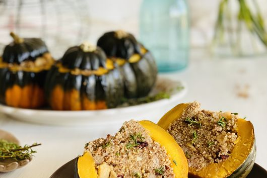 Squash Stuffed with Turkey, Apple, Cranberries and Quinoa