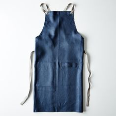 Slate-Blue Cross-Back Kitchen Apron with Slate Ties