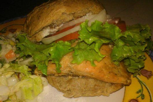 Glazed Asian Salmon Sandwich w/ Crispy Oriental Slaw