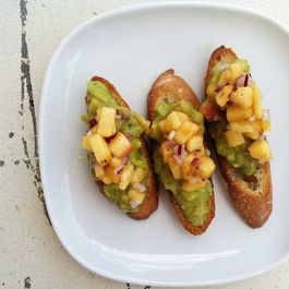 Peach Salsa and Guacamole Crostini